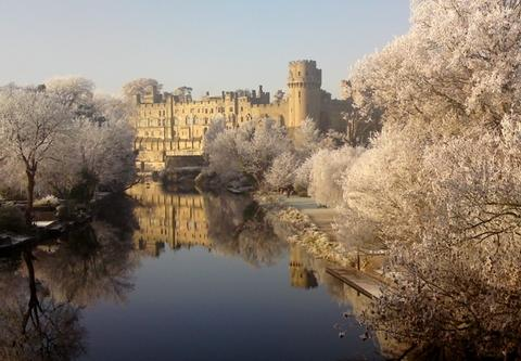 Ice castle: Bromsgrove student David Walker's picture of Warwick Castle, announced as the runner up in a nationwide competition. Ref:s