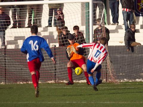 Jon Rogers bags Sporting's fourth goal on Saturday. Picture: ANDREW ROBERTS