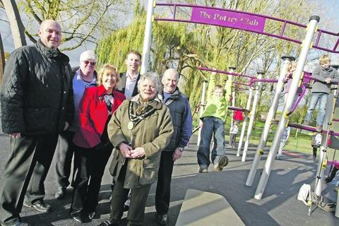 Transformed: Dignitaries attended the official unveiling of the new-look play area in Sanders Park on Friday.  Buy this photo BCR451207