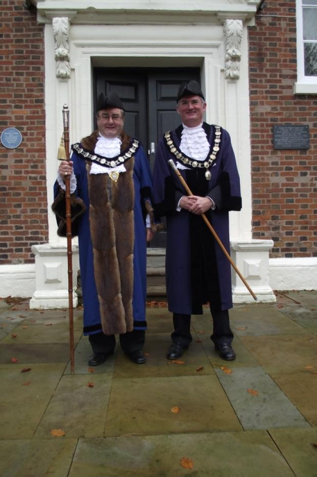 New bailiff: Former town MP Roy Thomason, the new court leet bailiff, pictured with new reeve Richard Harper. Ref:s