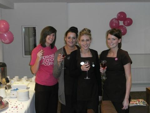 Charity fund-raiser: The staff of Revive Health Club and Spa enjoy a charity fund-raiser which raised £150 for Breast Cancer Care. Ref:s
