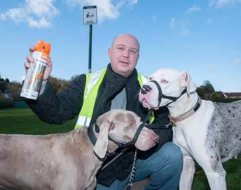Dog mess campaign: Councillor Michael Webb is supporting an anti dog mess campaign. Pictured with his dogs Pearl and Mylo.