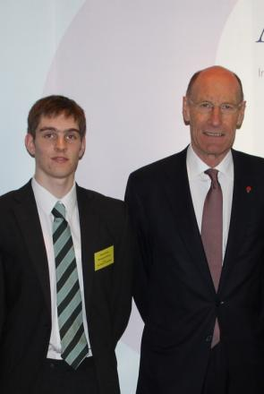 Prestigious award: Robert Stirrat, 16, with Sir John Armitt, chairman of the Olympic Delivery Authority, who presented the Bromsgrove School pupil his scholarship. Ref:s