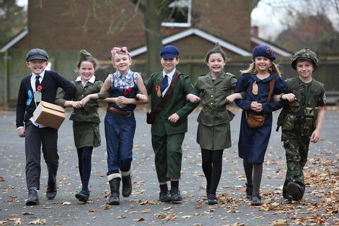 Remembrance: The year four pupils of Lickey End First School dressed in wartime clothes for a special service of remembrance.