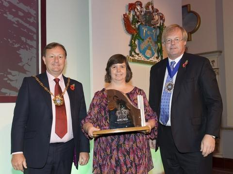 Awards double: From left, the Master of the Plaisterers' Company, Gary Morley, Caroline Stone, Forum Training and Lord Mayor of the City of London, Alderman David Wootton.