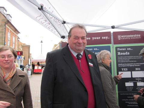 Councillor Adrian Hardman in Bromsgrove High Street