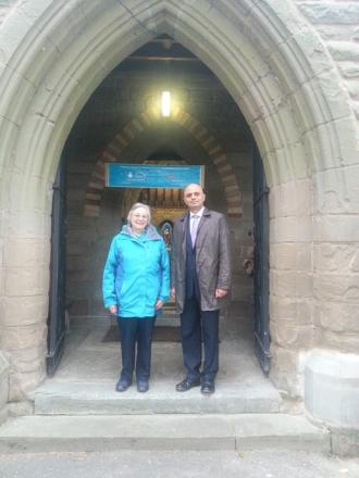 Sajid Javid with Tessa Carrick at All Saints' Church.