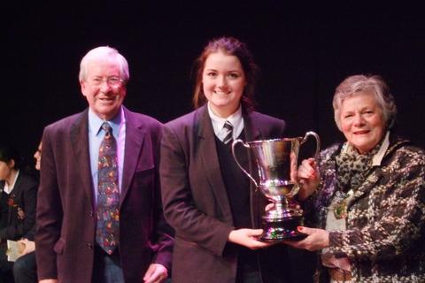 Joint organiser Bryan Maybee, Housman Cup winner Emily Collie and Bromsgrove District Council Civic Head Janice Boswell