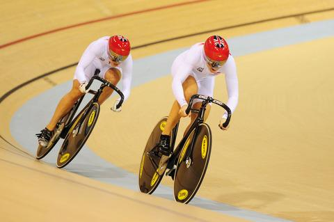 Jessica Varnish and Becky James in the team pursit. Picture:ALEX BROADWAY/SWPIX.COM