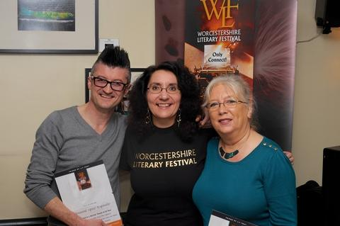 "Recognised: Poets Giovanni ""Spoz"" Esposito and Maggie Doyle, who have been recognised for their support of the Worcestershire Literary Festival, with director Lisa Ventura. Ref:s"