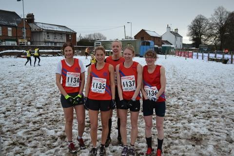 Snow joke: Bromsgrove and Redditch AC's senior women's quintet of Katy Anderson, Melanie Hepke, Tamara Ball, Charlotte Ball and Jane Anderson.