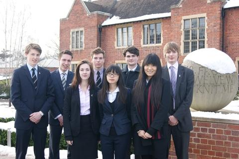 Bright future: The eight Bromsgrove School pupils looking forward to a promising future after securing university places at Oxford and Cambridge. Ref:s