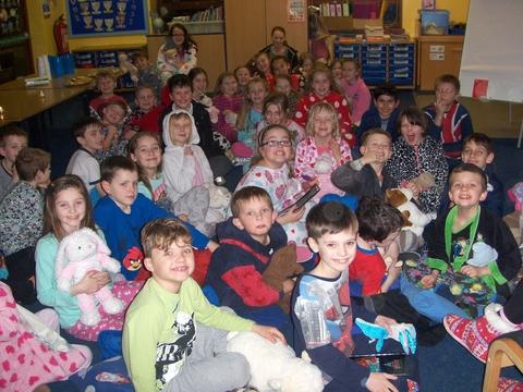 Bedtime reading: Millfields First School pupils gather for a bedtime story at a special storytelling evening. Ref:s