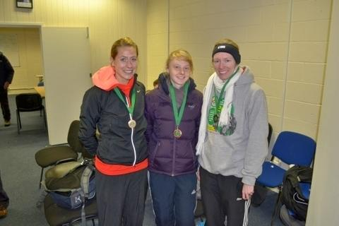 Medal winners: Katy Anderson, Sally Hogan and Tamara Ball show off their bronze medals.