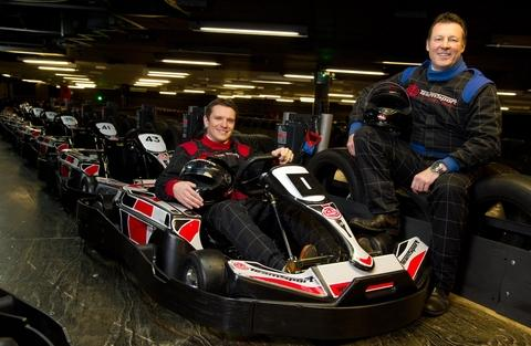 Bromsgrove Advertiser: Starting grid: TeamSport's managing director Dominic Gaynor, left and partner at Connection Capital, Julian Carr.
