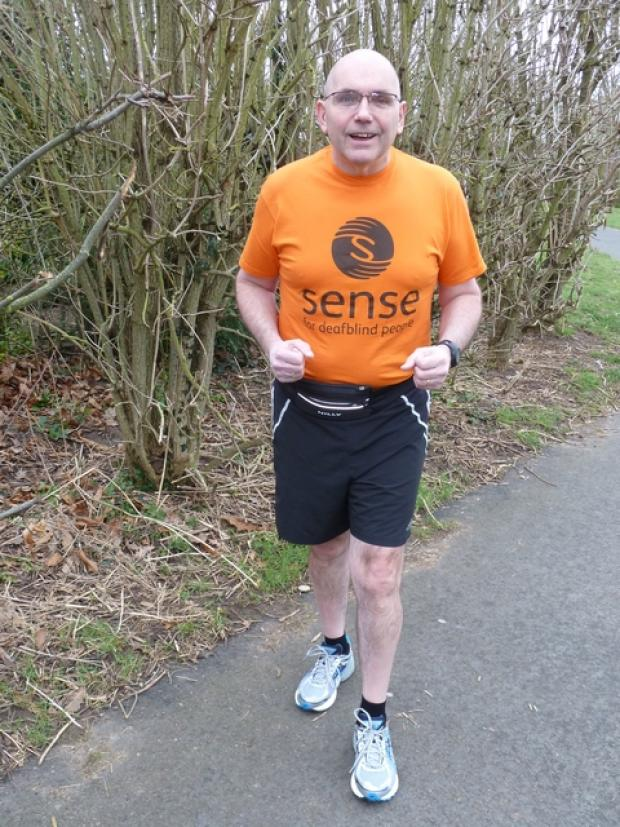 Intense training: Bromsgrove resident Gary Tomkinson has been on an intense training programme to run the London Marathon this April. Ref:s