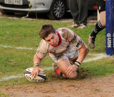 Try-time: Dave Brazier goes over for Bromsgrove against Sheffield. Picture: PETE JEPSON