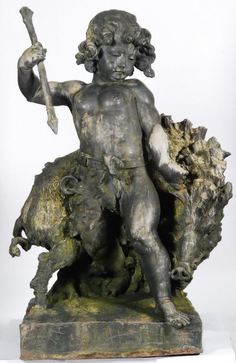 Under the hammer: The lead Dryad and Boar statue being auctioned in Stourbridge on March 9. Ref:s