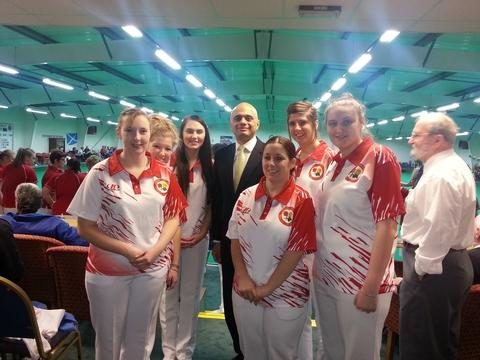 Cream of the crop: Bromsgrove MP Sajid Javid with England under-25 ladies.