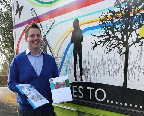 Councillor Campion with one of Worcestershire's mobile libraries.