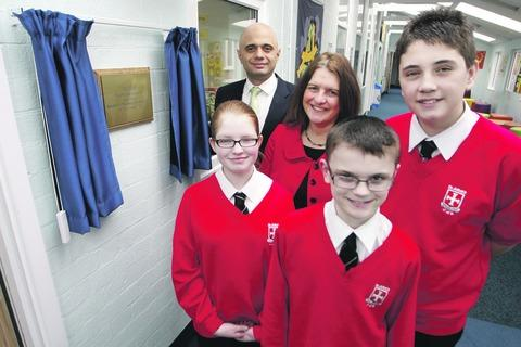 Official opening: Bromsgrove MP Sajid Javid opened St John's Middle School's new centre. Pictured with headteacher Wendy Taylor, Megan Vigers, 12, Jamie Coveney, 13, and Tom Bradbury, 13.  Buy this photo BCR101301a