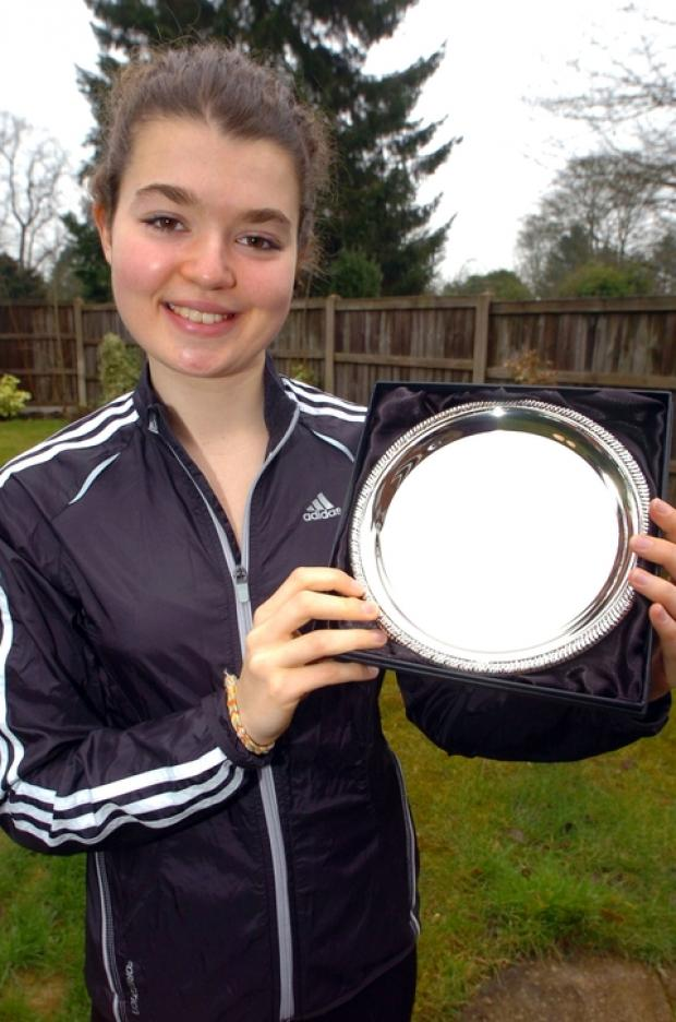 Sports Personality: Becky Straw shows off her silver salver. Picture: MARIE MYERS