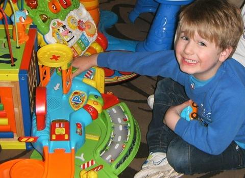 Nearly new sale: George Lowe, four, who attends Lickey End Playgroup which is holding a nearly new sale in April. Ref:s