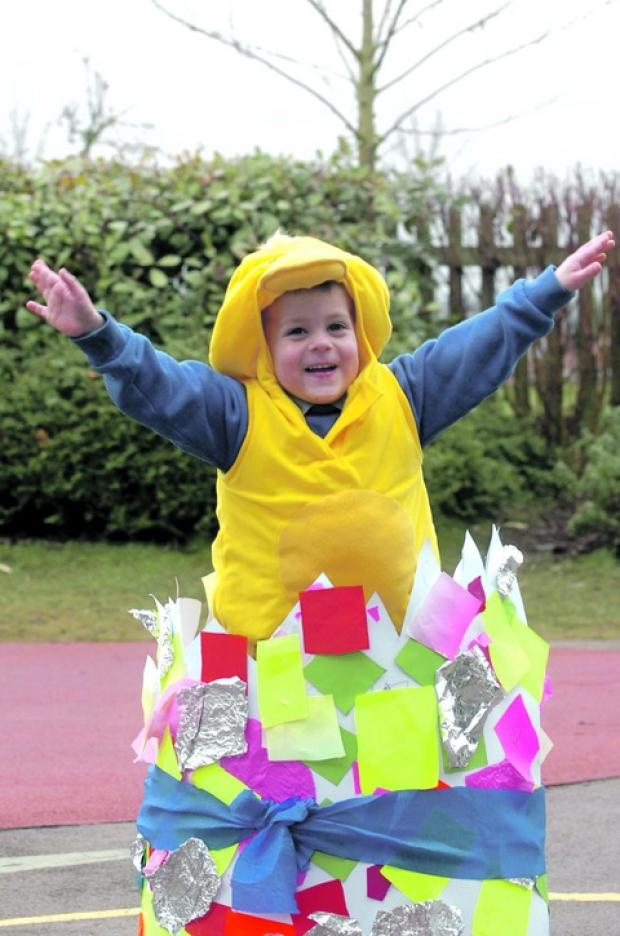 Cracking time: Kye Woliter transformed into a duckling for the celebrations. Buy this photo BMM13101a