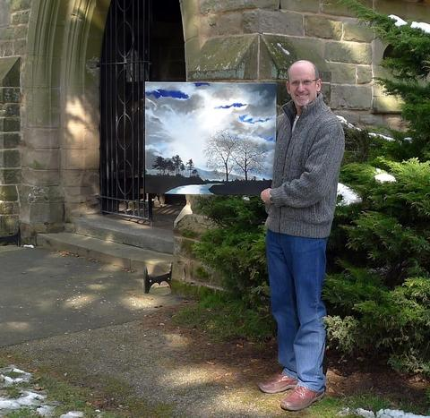 Exhibition: Artist Mike Hurst with his painting of Croome Park, one of 300 paintings featuring in this year's art exhibition being held at All Saints Church. Ref:s