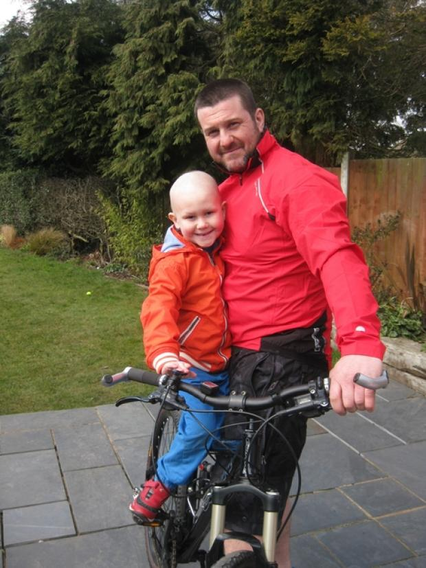 PEDAL POWER: David Nesbitt Rowand with dad Doug, who is taking part in the Paris to London Centenary ride this July. Ref:s