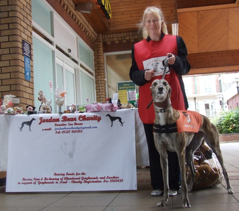 Dogged fundraising: Sue Boone and Charity outside Morrisons in Droitwich