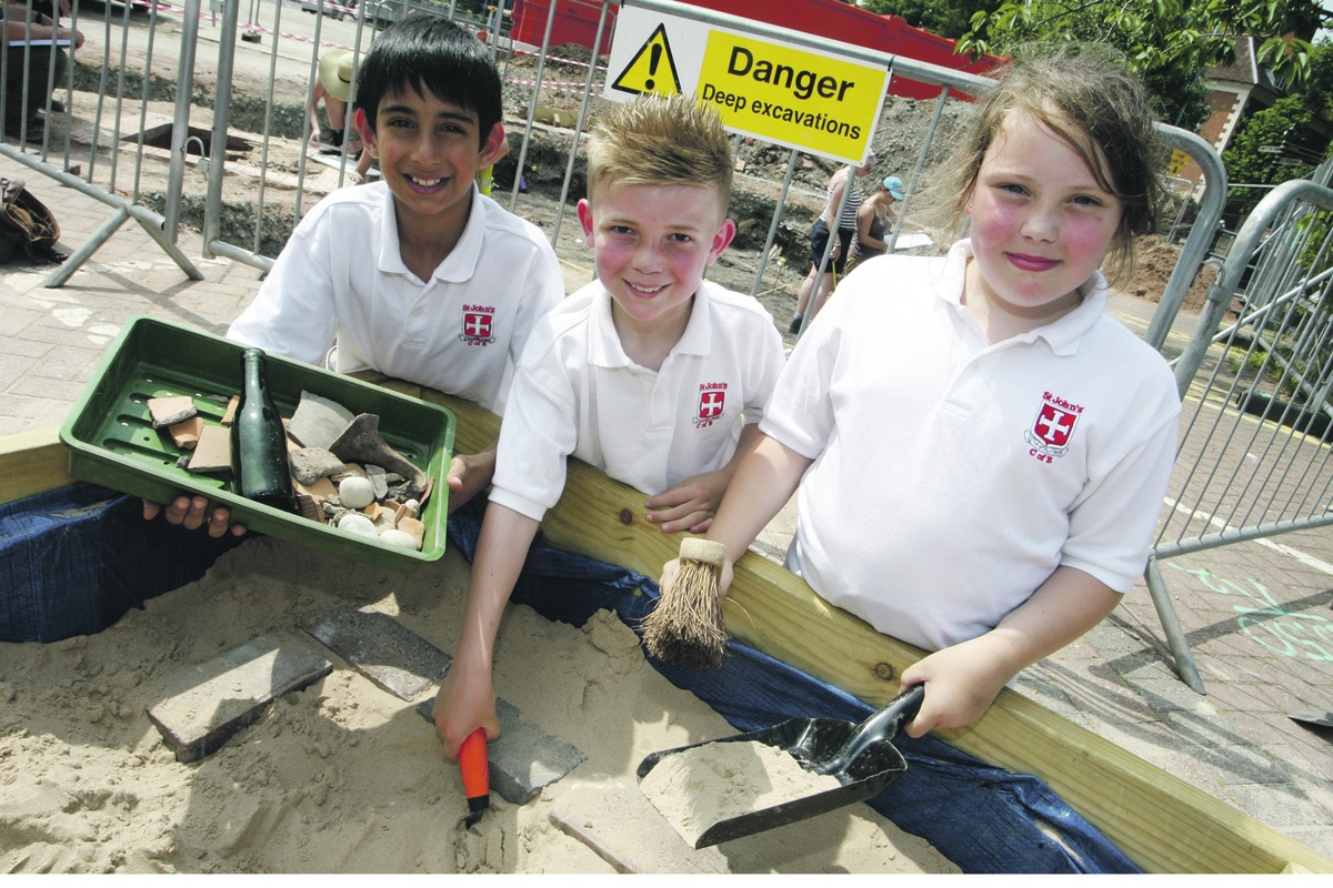 HISTORICAL DIG: St John's Middle School pupils Inaam Arif, 10, Harvey Langston
