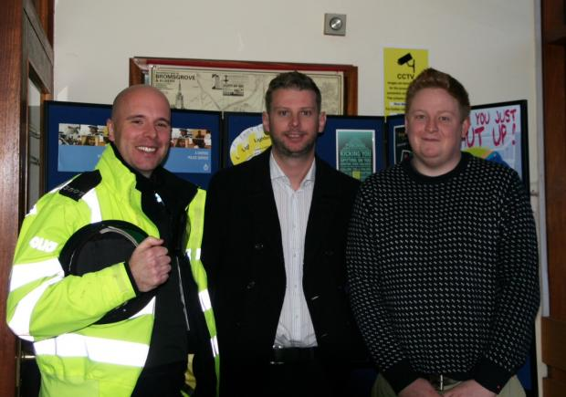 MEETING:  Bromsgrove District Councillors Luke Mallett and Chris Bloore and local policing officer Barnaby Kelso are inviting townsfolk to a community meeting. Ref:s