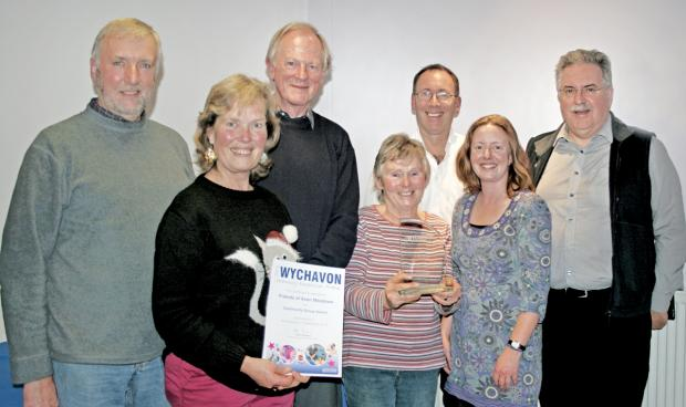 Bromsgrove Advertiser: FRIENDS OF AVON MEADOWS: Celebrating the community group award, from left, Dave Jeynes, Coun Val Wood, Richard Stott, Heather Greenhalgh, heritage manager Jim Burgin, Liz Etheridge of Wychavon District Council and Bob Gillmor.