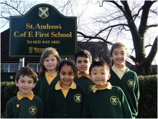 Bromsgrove Advertiser: OUTSTANDING: Staff and pupils at St Andrew's First School have been celebrating the publication of an outstanding Ofsted inspection. SP
