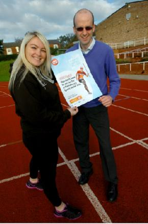 Bromsgrove's Ryland Centre is hosting a Sport Relief mile in March. Michelle Jones, the centre's general manager, with Matt Hill, activities development officer.   Buy this photo BMM041402a