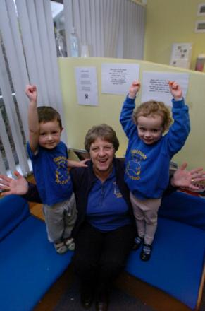 GOOD RATING: Sidemoor Pre-School has received a good Ofsted inspection. Pictured are Jean Taylor, deputy manager, with Ethan Greaves, three, and Mia Griffiths, three.  Buy this photo BMM0614029 at bromsgroveadvertiser.co.uk/pictures or call 01527 889027.