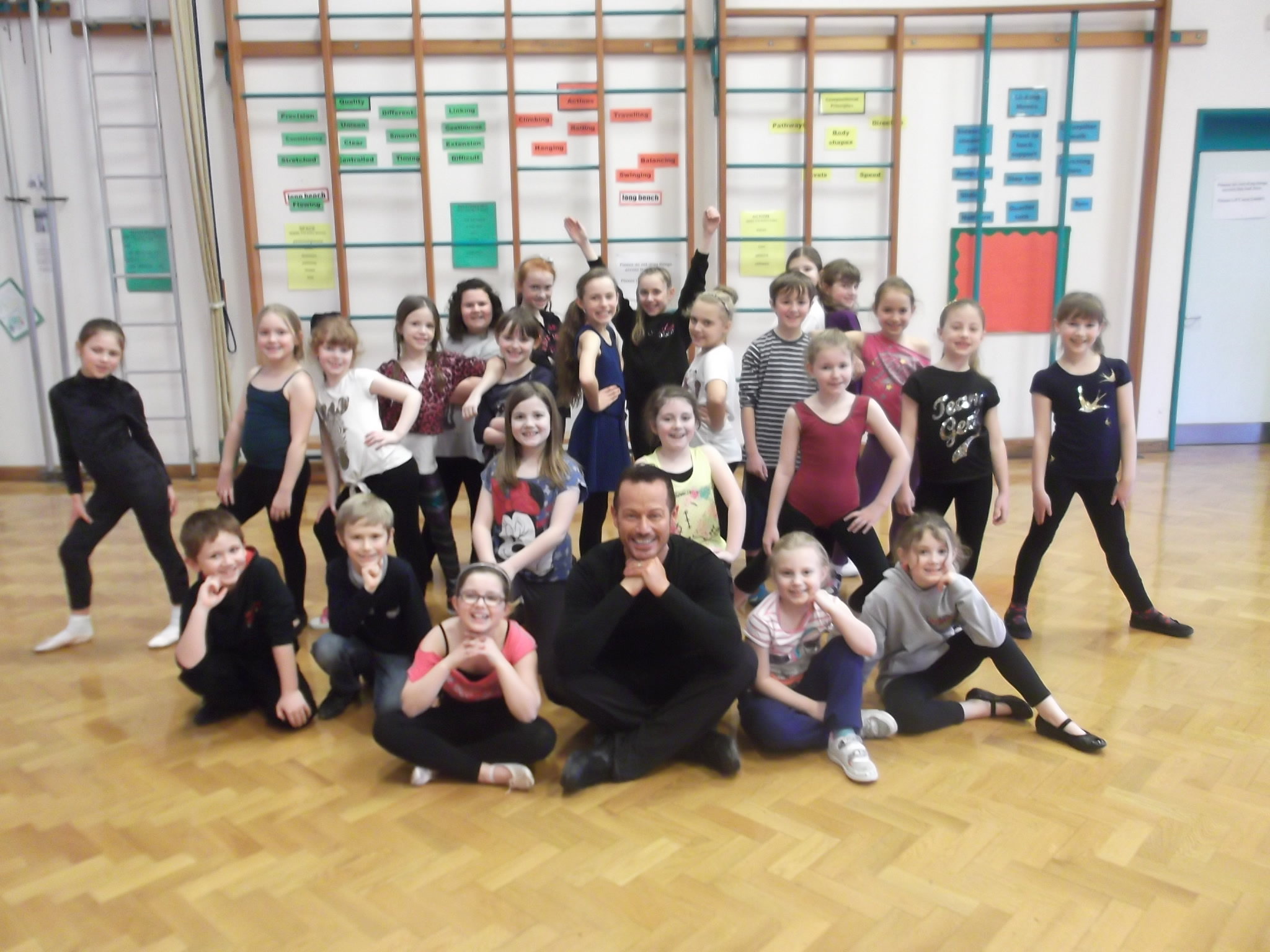 TALENTED: Dance teacher Nathan Ashlie with pupils who took part in Bromsgrove Cluster's