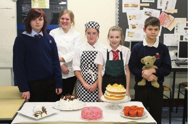 BAKING BRILLIANCE: North Bromsgrove High School pupil Natalie Evans, pictured with her fellow competitors, who is through to the semi final of a national school cookery competition. SP