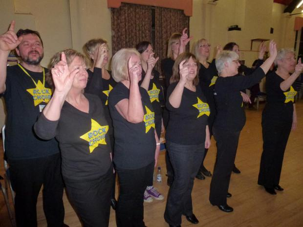 Members of the Bromsgrove branch of Rock Choir during a world record attempt.