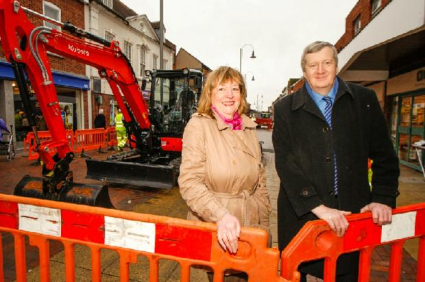 Construction work on the new look High Street has begun. Pictured are district councillor Rita Dent and county councillor Anthony Blagg. Buy this photo BCR081402