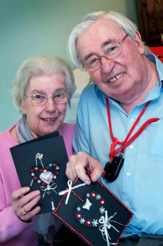 Bromsgrove Advertiser: VALENTINE'S: Two couples, Pauline and Chris Smith and Joan and John Tidmarsh celebrated Valentine's Day at Breme Care Home on Friday.