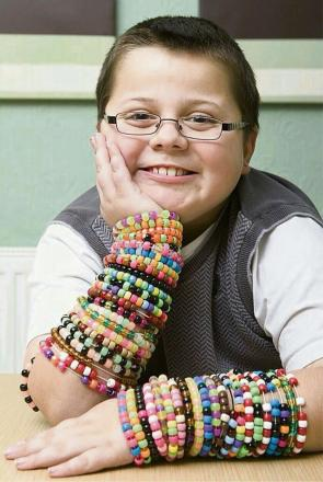 Harry Moseley with some of his bracelets. SP
