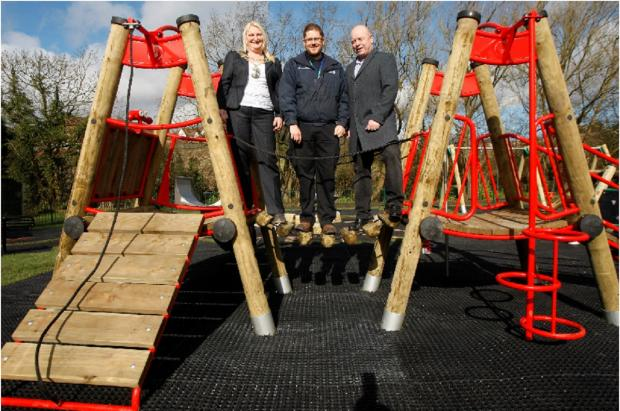 Bromsgrove Advertiser: The new Braces Lane playground was opened by civic head, Councillor Helen Jones, Councillor Mark Bullivant and district council officer Adam Houghton on Friday. Buy this photo BCR111401