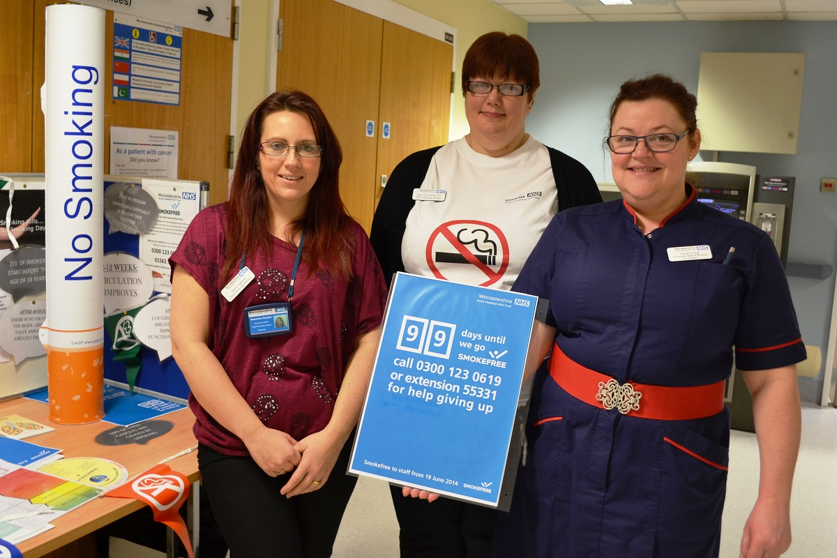 Preparing to go smoke free at the Alex in Redditch. Michelle Halford, pregnancy stop smoking advisor, Mary Cornford-Hill, a stop smoking advisor and Sarah King, divisional director of nursing – surgery. SP