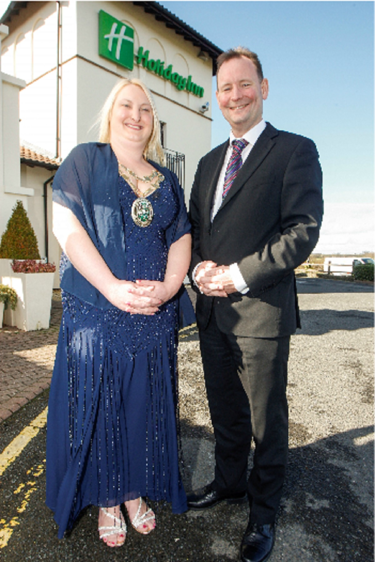 Bromsgrove District Council's civic head Councillor Helen Jones who has organised a charity dinner, being held at Bromsgrove's Holiday Inn. Pictured with manager Alan Northern.   Buy this photo BCR111402
