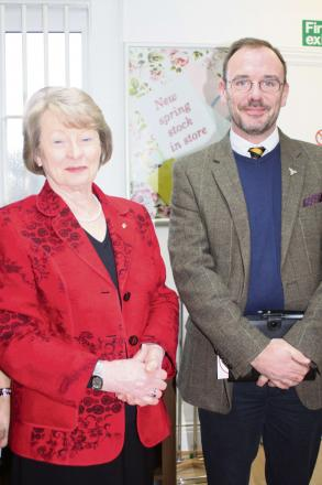 Acorns Children's Hospice trustee Vivien Cooper and head of retail Kevin Ives