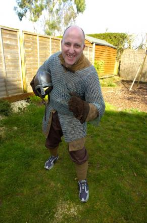Alan Caley and his suit of armour