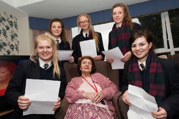 Students from Bromsgrove School celebrated World Book Day at Breme Care Home. Buy photo BCR131403_01