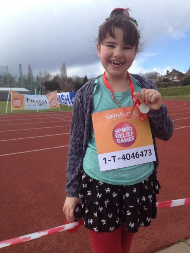 Bromsgrove Advertiser: SPORT RELIEF: Bromsgrove youngster Christina De Sousa, aged eight, complete